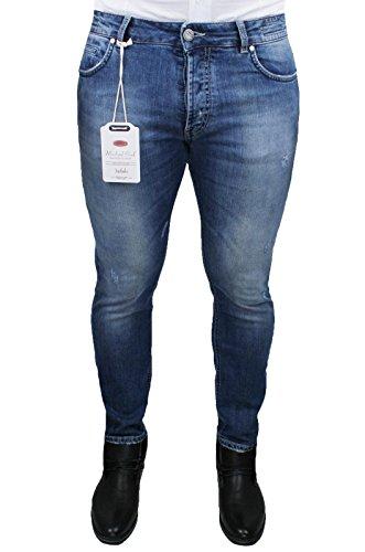 Pantaloni Jeans uomo Michael Coal blu denim pantalone casual slim fit capri Made in Italy (32, blu)
