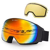 Avoalre OTG Ski Goggles Anti Fog Ski Snowboard Goggles for Mens Womens 100% UV Protection Glasses with Interchangeable Spherical Mirrored Lenses (Red)