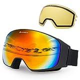 Avoalre OTG Lunettes de Ski Masques Protection Adulte Masque de Ski Femme et Homme Masque Ski Snowboard Neige Anti-UV Adapté pour Lunettes pour Exterieures Vélo Moto Cross