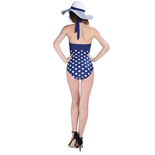 Missyhot Damen Retro Bademode Polka Dots Einteilig Vintage Schwimmenanzug mit Punkten Monokini Bikini Neckholder Badeanzug Hut und Badeanzug(Blau)