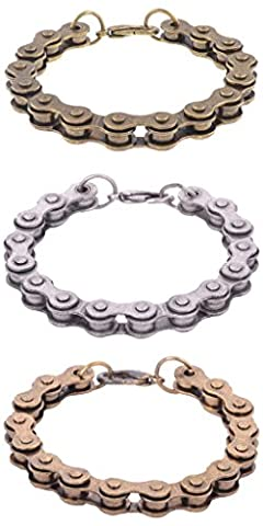 The Jewelbox Biker Cycle Chain Oxidized Brass Funky Mens Boys Bracelet For Men