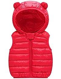 ARAUS Gilet con Cappuccio Cappotto Senza Manica da Bambini Zip Up Giubbotto Impermeabile Pesante Invernale 0-36 Mesi
