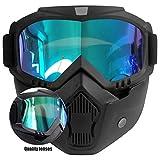 Motorradbrille mit Maske Abnehmbarer, Beschlagfreie Winddichte Motorradbrille...