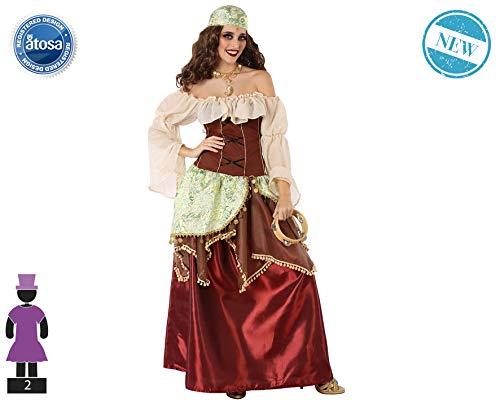 Atosa-61562 Atosa-61562-Disfraz Gitana-Adulto Mujer, Color marrón, XS a S (61562
