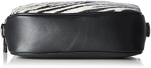Chicca Borse 1616, Borsa a Spalla Donna, 22x16x7 cm (W x H x L) Nero (Zebra Bianco)