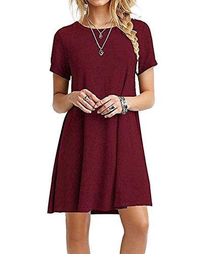 YOINS Sommerkleid Damen Tunika Tshirt Kleid Bluse Kurzarm Minikleid Rundhals Weinrot EU32-34