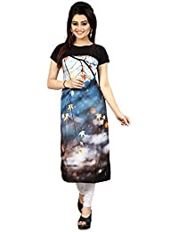 Woman's Straight Cut Digital Printed Crepe Kurti_28