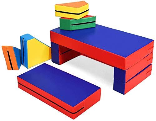 GOPLUS Spielsofa mit Bettfunktion, 4-In-1 Kindersofa aus Schaumstoff, Matratze Multifunktional Spieltisch Puzzle Sofa, Kindersessel Faltbar mit 4 Bausteinen, Pädagogisches Spielzeug für Kinder (Bunt)