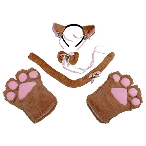 Amosfun costumi per gatti adorabili guanti da gatto cerchietto per capelli coda zampe animali di halloween accessori per giochi di ruolo 5 pezzi