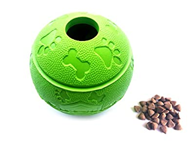 Feixun Pets Dog Treat Ball,Dog Food Toy, Interactive Dog Toy 7.6-8.1cm Green and Blue (1*Green Type A + 1* Green Type B)