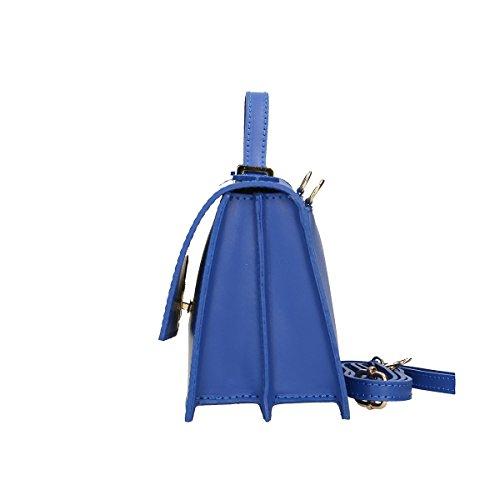 Chicca Borse echtes Leder Schultertasche 22x15x10 Cm Blau