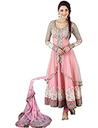 Radhey Arts Lialia Ethnicght pink net embroidered semistitched salwar with dupatta