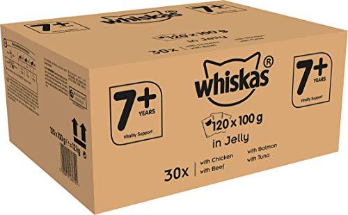 Whiskas 7 + Katzenfutter - Gemischte Auswahl in Gelee - Hochwertiges Nassfutter für Katzen ab 7 Jahren und älter - Für die Bewahrung der Vitalität - 120 Portionsbeutel à 100g