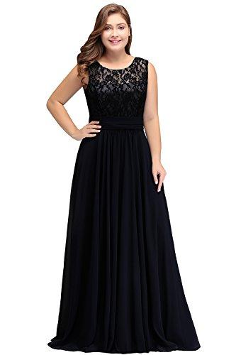 Misshow Damen Elegant Chiffon Abendkleid Ballkleider A-Linie Abschlusskleid Maxilang
