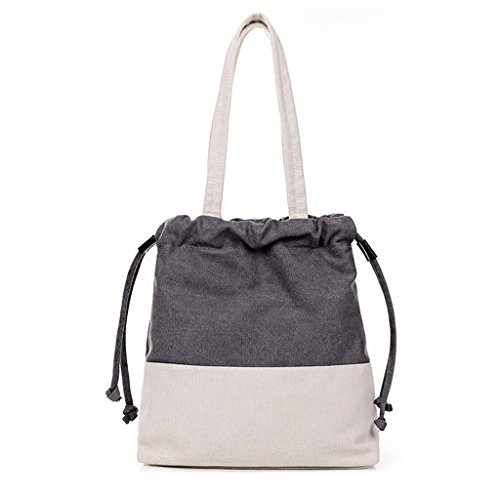 lisianthus002-ladies-retro-colorant-match-drew-string-canvas-shoulder-bag-grey