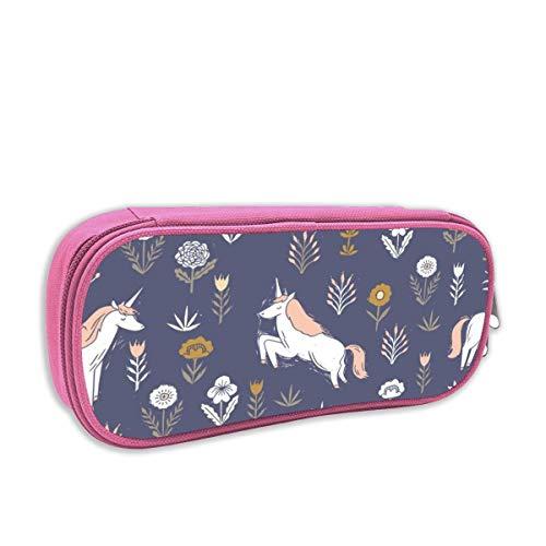 astuccio per bambini portatutto,Linocut Unicorn Flower, Floral, Linoleografia, Unicorno Baby sitter Design, rosa