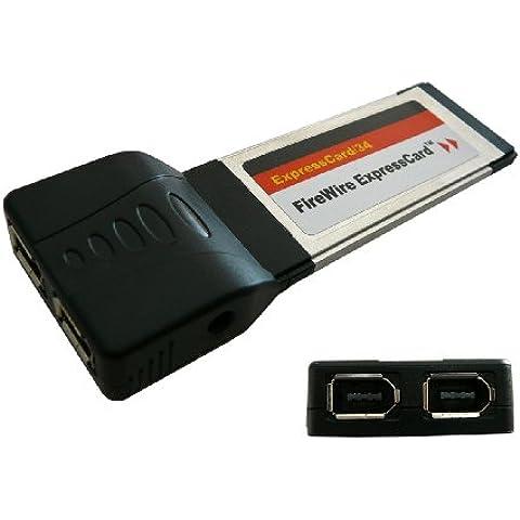 EXPRESSCARD - FIREWIRE 400 IEEE1394a CONTROLLER CARD 2x PORTS - EXPRESS 34MM - CHIPSET : TEXAS INSTRUMENTS TI XIO 2200A