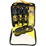 Everest Tough-Tech Series Heavy Duty Premium Ratchet Tie Down Strap - 4 pack - 1 inch - 10 Ft - 300 LBS Load Cap - 900 LB Break Strength - Cargo Strap for Moving Appliances, Lawn Equipment, Motorcycle, Camping Equipment, Outdoor Activities, Reengineered Handle by Everest