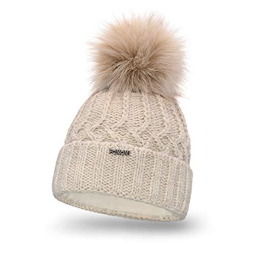 PaMaMi Damen Thermo Wintermütze | warme Strickmütze mit Bommel | Gestrickte weiche Bommelmütze | Slouch Beanie Hergestellt in EU | Farbenauswahl 18544 (Beige)