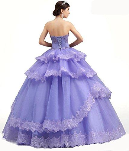 BridalMall Damen Strapless SpitzeApplique Ballkleid Quinceanera Kleider für  Junior Lavendel