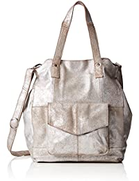 PIECES - Pcvanity Leather Big Bag Foil, Shoppers y bolsos de hombro Mujer, Grau (Silver), 18x37x30 cm (W x H D)