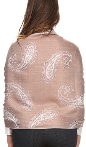 Sakkas Kendall Extra Long Large Floral Paisley Patterned Pashmina Shawl / Scarf Silver / Brown