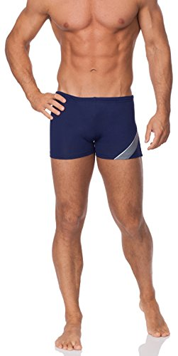 Hommes Shorts de Bain Modèle Bob Bleu Foncé/Gris/Blanc