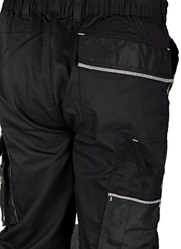 Iwea Stabile Arbeitshose Bundhose Berufshose Handwerker Cargohose Arbeitskleidung Grau IW063 (52/54 (L), Schwarz) - 4