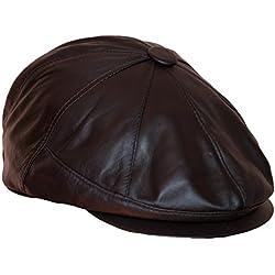Dazoriginal Boina Cuero, Casquillos plano, BakerBoy Cap, Viseragorras, Boinas para hombre Cuero, Gorra Plana, sombrero cuero, sombrero del casquillo, gorros hombre Marron Newsboy Cap Un tamaño