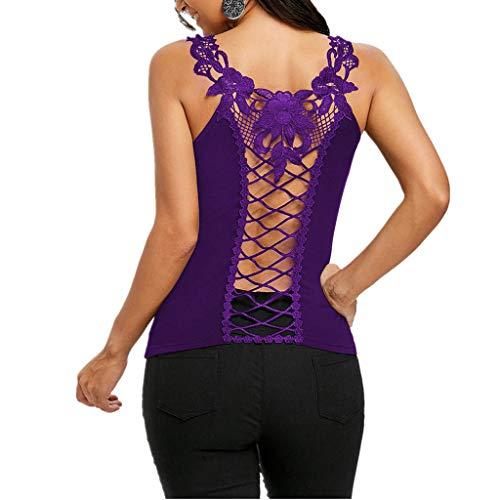 kolila Damen Zurück Hollowing Aushöhlen Stitching Lace Schultergurt ärmellose Weste T-Shirts Tops ()
