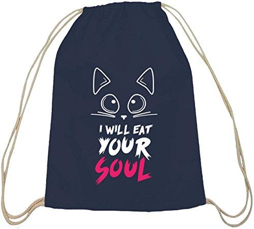 Shirtstreet24, Halloween - I Will Eat Your Soul, Baumwoll natur Turnbeutel Rucksack Sport Beutel dunkelblau natur