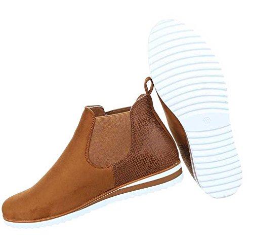 Damen Boots Stiefeletten Schuhe Stretch Camel 36 37 38 39 40 41 Camel HjLlIz