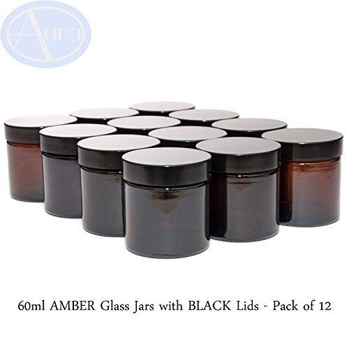 60 ml Bernstein Marmeladengläser mit schwarzem Deckel, 12Stück.