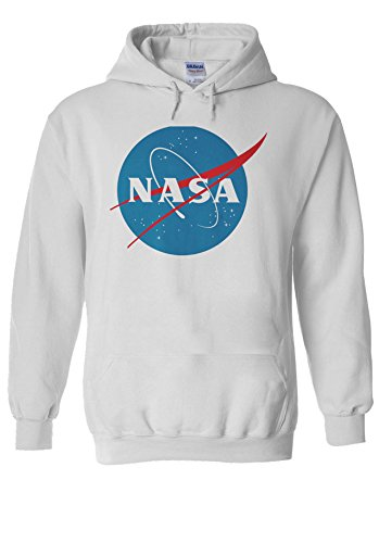 Nasa National Space Administration Logo White Men Women Unisex Hooded Sweatshirt Hoodie-S