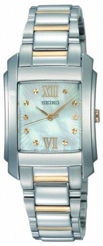 Seiko Ladies Quartz Analogue Watch SRZ367P1 with Two Tone Bracelet and White MOP Dial