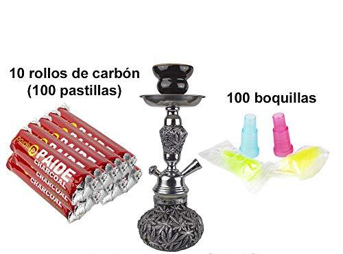 PAIDE Cachimba Forma Marihuana - Shisha narguile Hookah - 100 Pastillas de carbón, 100 boquillasGris...