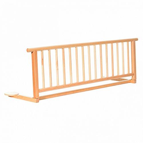 Bettschutzgitter Exclusiv aus Buchenholz | Rausfallschutz für Baby & Kinder 120x35 cm | Kinder-Bettgitter mit einfacher Anbringung | Bettgitter für Kinderbetten & Babybetten, Design:natur