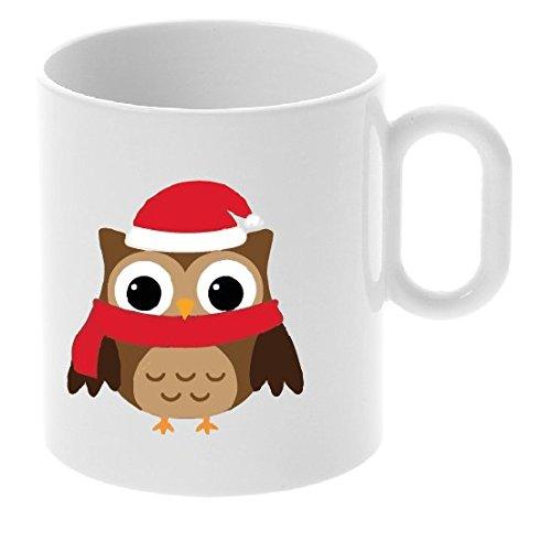 My Custom Style® Tazza Natale in ceramica personalizzabile da 325 ml modello 'Babbo Gufetto' Confezione risparmio da 6 tazze.