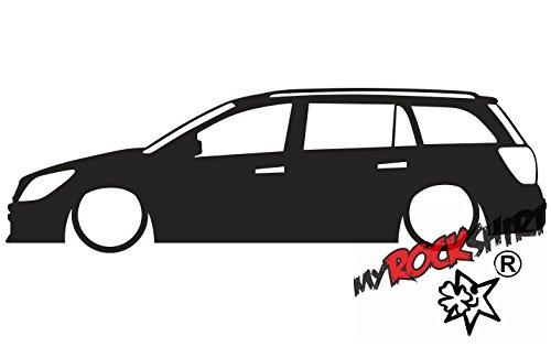 myrockshirt 2X Aufkleber Low Vauxhall Astra H mk5 Estate CDTi Silhouette stickerOpel Caravan Low Lowered Tiefer Tiefergelegt `+ Bonus Testaufkleber Estrellina-Glückstern ®, gedruckte Montageanl