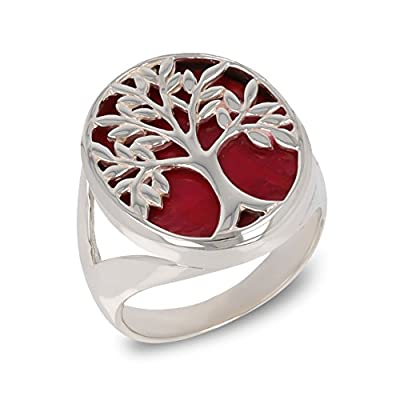 Idée cadeau pour femme-Cadeau bijoux symbole Arbre de vie-Bague-Corail rouge-Argent massif-Femme