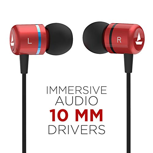 boAt Bassheads 107 Wired Earphones with Immersive Sound, Integrated Controls and in-Built mic (Red)