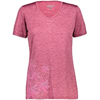 CMP Leichtes Melange-T-Shirt mit bunten Drucken Camiseta, Mujer, Goji Mel, D40