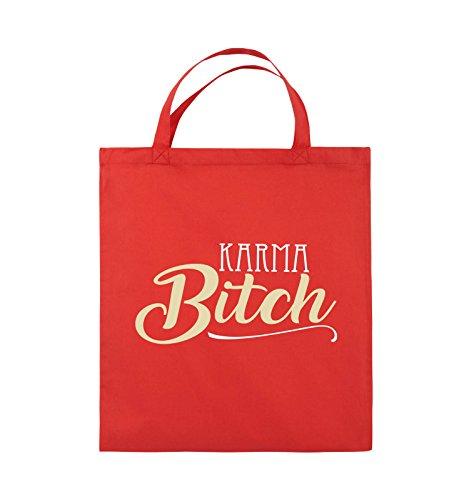 Buste Comedy - Karma Bitch - Borsa In Juta - Manico Corto - 38x42cm - Colore: Nero / Bianco-neon Verde Rosso / Bianco-beige