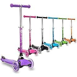 3StyleScooters® RGS-1 (Petite) Trottinette à 3 Roues pour Enfant - idéale pour Les Enfants âgés de 3 Ans et Plus - avec Roues à lumières LED, modèle Pliable et poignées réglables (Violet)