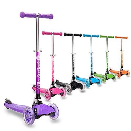 3Style Scooter® RGS-1 Scooter de Tres Ruedas niños Mayores de 3 años - Ruedas iluminadas con Luces LED, Plegable y Ligera con manubrios Ajustables (Purple)