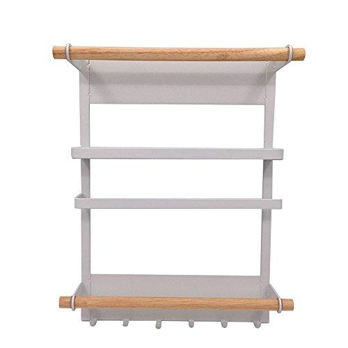 Multifuncional magnético lado lateral colgar en la pared cocina rack de almacenamiento de organización, color blanco