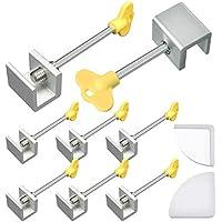 SelfTek Juego de 8 cerraduras ajustables para ventana marco de seguridad con llave y 2 cubiertas de esquina de silicona