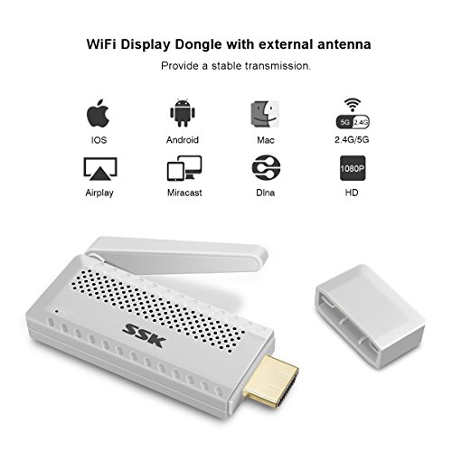 Airplay Dongle, MECO 2.4G/5G Mini Wireless Display Adapter Wifi HDMI Display Receiver Miracast Dongle 1080P HD Unterstützung Google Home/DLNA/Airplay/Miracast für MacBook/Android/Windows 8.1/10/iPhone SE/7/8/X, iPad