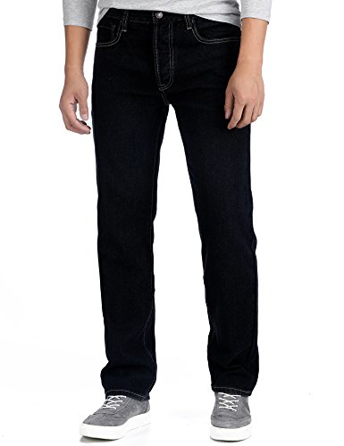 Deyllo Herren Klassisch Hochverschleißfest Straight Fit Jeanshose Jeans Denim Hose(Dark Rinse, W30/30L) (Fit Denim Relaxed)