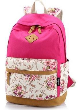 Imagen de icase4u® 2015 multi función moda  bolsa escolar tipo casual bonita de lona de viaje  de marcha para picnic para mujer o chica buena calidad flores rosa2